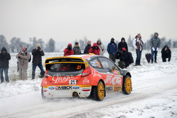 Martin Prokop (CZE) and Michal Ernst (CZE), Ford Fiesta RS WRC on the shakedown stage.