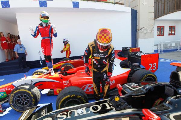 Valencia Street Circuit, Valencia, Spain.  24th June 2012. Sunday Race. Luiz Razia (BRA, Arden International) celebrates his victory. Photo: Andrew Ferraro/GP2 Media Service. Ref: Digital Image _Q0C9925.jpg