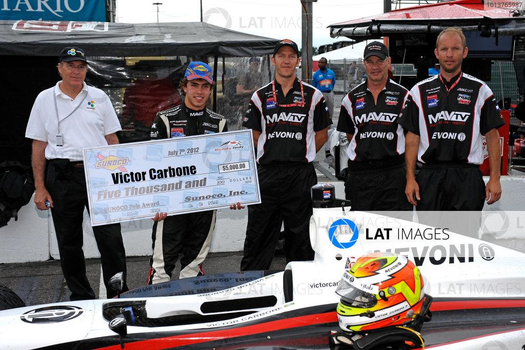 6-7 July, 2012, Toronto, Ontario CAPole winner Victor Carbone (#3) and crew.(c)2012, F. Peirce WilliamsLAT Photo USA