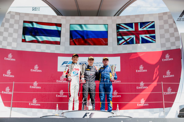 2017 FIA Formula 2 Round 5. Red Bull Ring, Spielberg, Austria. Sunday 9 July 2017. Alexander Albon (THA, ART Grand Prix), Artem Markelov (RUS, RUSSIAN TIME) and Oliver Rowland (GBR, DAMS).  Photo: Zak Mauger/FIA Formula 2. ref: Digital Image _54I0444