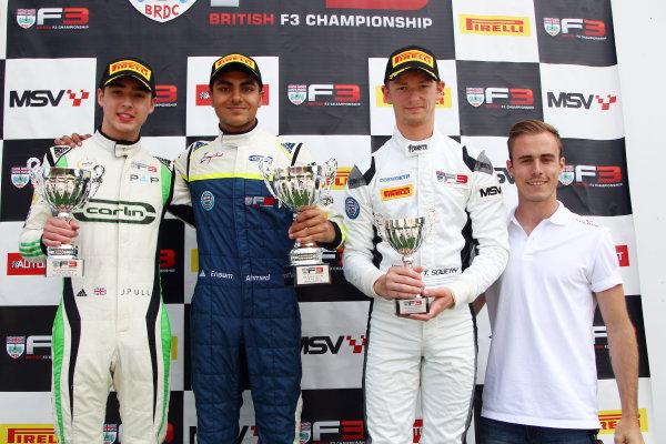 2017 BRDC British F3 Championship, Spa-Francorchamps, Belgium. 7th - 8th July 2017. Race 2 Podium (l-r) James Pull (GBR) Carlin BRDC F3, Enaam Ahmed (GBR) Carlin BRDC F3, Toby Sowery (GBR) Lanan Racing BRDC F3. World Copyright: JEP/LAT Images.