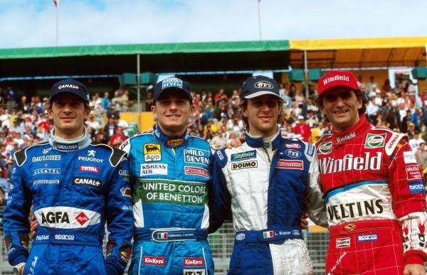 Four Italians in the race L to R, Jarno Trulli, Giancarlo Fisichella, Luca Badoer and Alex Zanardi Australian GP, Melbourne,  7 March 1999