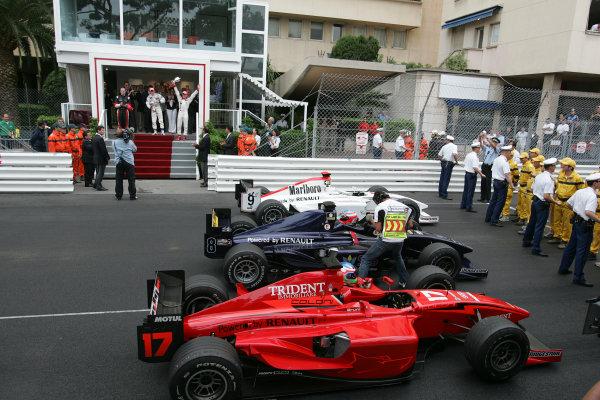 2005 GP2 Series - MonacoMonte-Carlo. 20th & 21st MaySaturday - Race1st Adam Carroll (GB, Super Nova International). 2nd Gianmaria Bruni (I, Coloni Motorsport). 3rd Nico Rosberg (D, ART GP). Podium Photo: GP2 Series Media Serviceref: Digital Image Only.