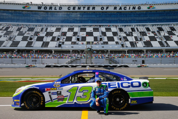 13-21 February, 2016, Daytona Beach, Florida USA   Casey Mears, driver of the #13 GEICO Chevrolet, poses with his car after qualifying for the NASCAR Sprint Cup Series Daytona 500 at Daytona International Speedway on February 14, 2016 in Daytona Beach, Florida.   LAT Photo USA via NASCAR via Getty Images