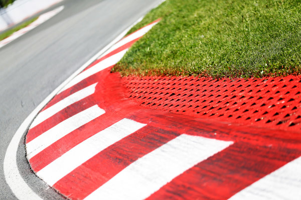 Circuit Gilles Villeneuve, Montreal, Canada. Thursday 4 June 2015. Kerbing. World Copyright: Alastair Staley/LAT Photographic. ref: Digital Image _R6T8459