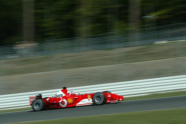 2003 German Grand Prix, Friday Qualifying, Hockenheim, Germany.1st August 2003.Rubens Barrichello, Ferrari F2003 GA, action.World Copyright LAT Photographic.Digital Image Only.