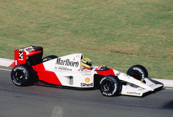 1992 South African Grand Prix.Kyalami, South Africa. 28/2-1/3 1992.Ayrton Senna (McLaren MP4/6B Honda) 3rd position.Ref-92 SA 28.World Copyright - LAT Photographic