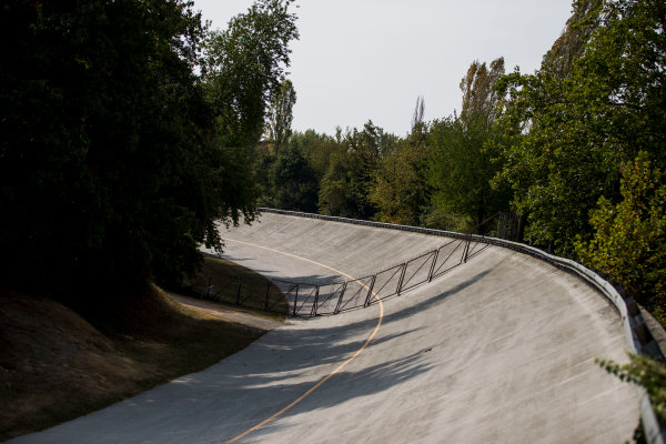 2017 GP3 Series Round 6.  Autodromo Nazionale di Monza, Monza, Italy. Thursday 31 August 2017. The old Monza banking. Photo: Zak Mauger/GP3 Series Media Service. ref: Digital Image _54I4880