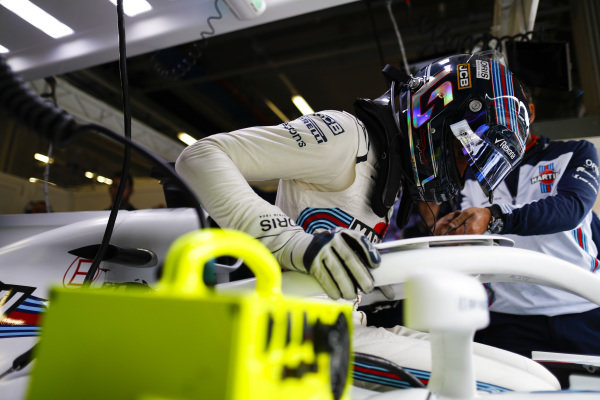 Lance Stroll, Williams Racing, settles into his seat.