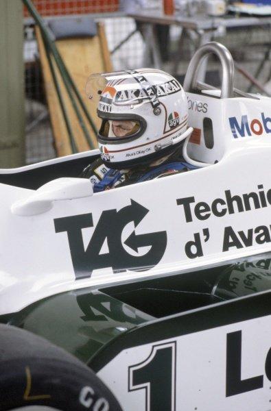 1981 German Grand Prix.Hockenheim, Germany. 31 July-2 August 1981.Alan Jones (Williams FW07C-Ford Cosworth), 11th position. Helmet, portrait.World Copyright: LAT PhotographicRef: 35mm transparency 81GER11