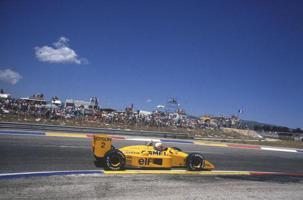 Paul Ricard, Le Castellet, France. 1st - 3rd July 1988. Saturu Nakajima (Lotus 100T-Honda), 7th position, action.  World Copyright: LAT Photographic. Ref: 88FRA 45