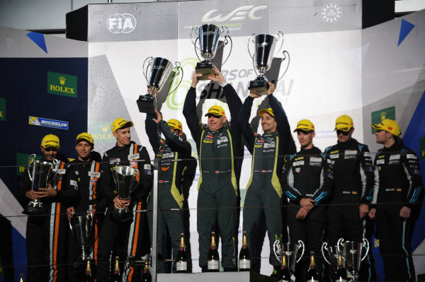 2017 FIA World Endurance Championship, Shanghai, China. 3rd-5th November 2017, GT AM Podium, #98 Aston Martin Racing Aston Martin Vantage: Paul Dalla Lana, Pedro Lamy, Mathias Lauda win World Copyright. JEP/LAT Images