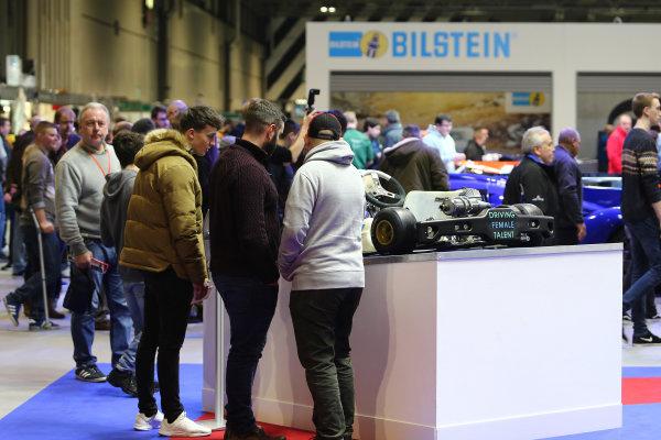 Autosport International Exhibition. National Exhibition Centre, Birmingham, UK. Saturday 13th January 2018. Visitors examine a kart.World Copyright: Jakob Ebrey/LAT Images Ref: JR3_3752
