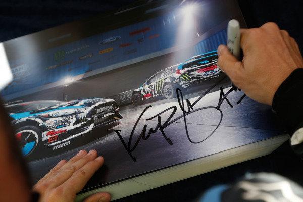 Ken Block (USA) Ford Fiesta signs autographs for the fans. FIA World Rally Championship, Rd12, Rally de Espana, Catalunya, Costa Daurada, Spain. Day One, Friday 24 October 2014.