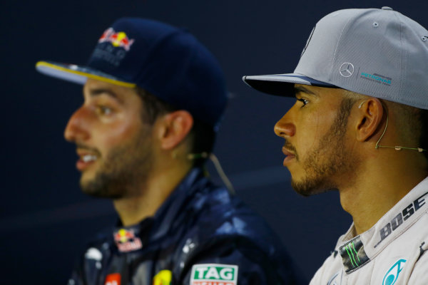 Hockenheim, Germany. Sunday 31 July 2016. Daniel Ricciardo, Red Bull Racing, 2nd Position, and Lewis Hamilton, Mercedes AMG, 1st Position, in the Press Conference. World Copyright: Hone/LAT Photographic ref: Digital Image _ONY1445