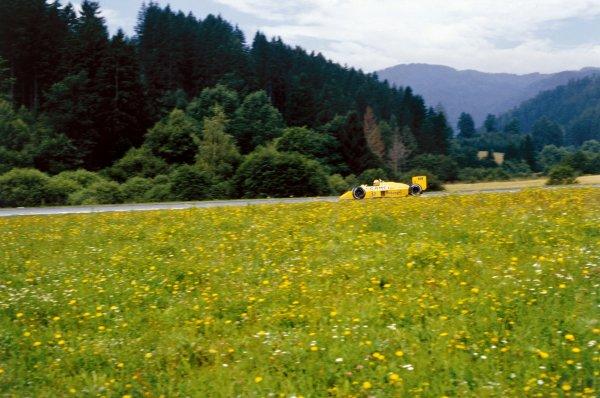 1987 Austrian Grand Prix.Osterreichring, Austria. 14-16 August 1987.Ayrton Senna (Lotus Honda 99T) 5th position, action.World Copyright - LAT Photographic.Ref: 35mm Colour Transparency.