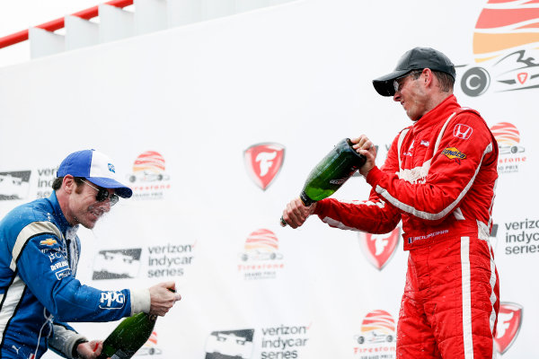 2017 Verizon IndyCar Series - Firestone Grand Prix of St. Petersburg St. Petersburg, FL USA Sunday 12 March 2017 Sebastien Bourdais , Simon Pagenaud celebrating in victory lane with champagne  World Copyright:Sam Cobb/LAT Images ref: Digital Image cobb-stpete-170312-4764