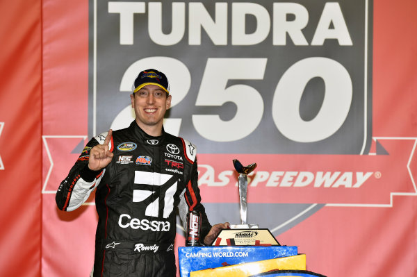 NASCAR Camping World Truck Series Toyota Tundra 250 Kansas Speedway, Kansas City, KS USA Friday 12 May 2017 Kyle Busch, Cessna Toyota Tundra celebrates his win in Victory Lane World Copyright: Nigel Kinrade LAT Images ref: Digital Image 17KAN1nk07205