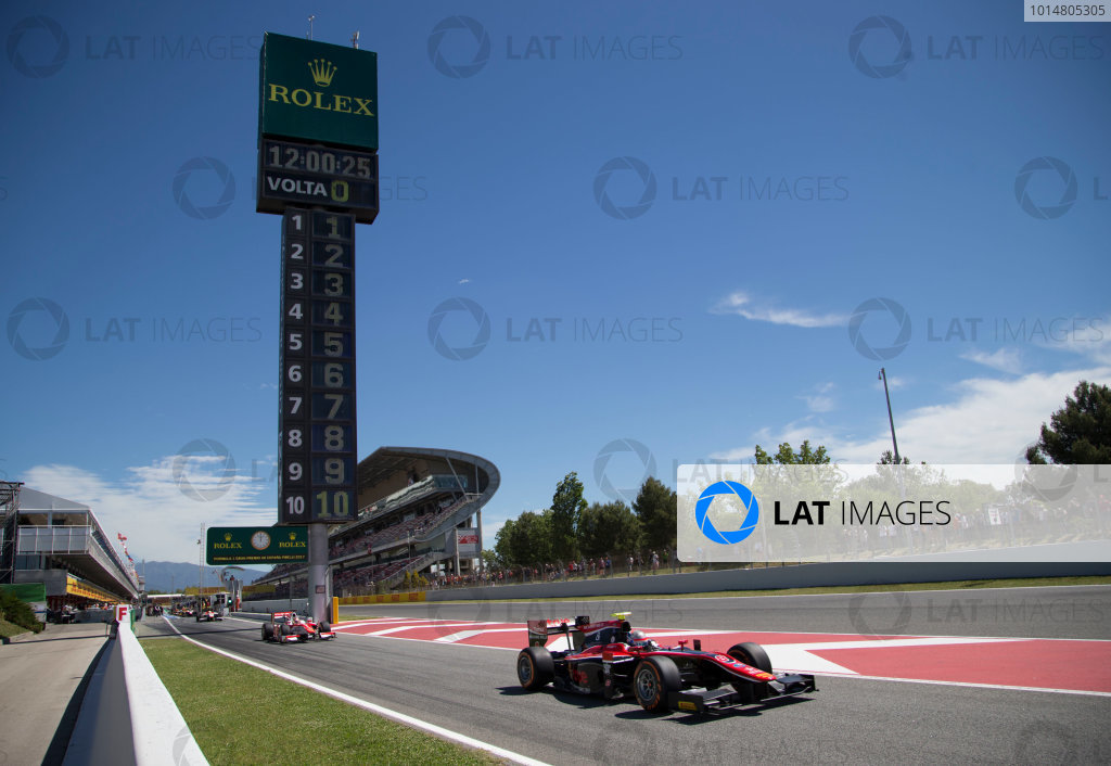 2017 FIA Formula 2 Round 2. Circuit de Catalunya, Barcelona, Spain. Friday 12 May 2017. Alexander Albon (THA, ART Grand Prix) exits the pit lane for the start of the practice session Photo: Jed Leicester/FIA Formula 2. ref: Digital Image JL1_9151