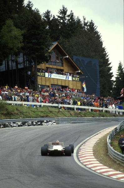 Eddie Cheever(USA) Arrows A10, 4th place at Eau Rouge corner Belgian GP, Spa, 17 May 1987