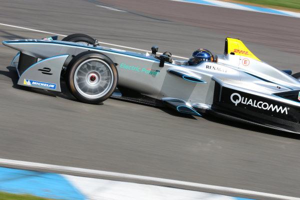 FIA Formula E Test Day, Donington Park, UK.  19th August 2014. Heinz-Harald Frentzen. Photo: Malcolm Griffiths/FIA Formula E ref: Digital Image F80P9725