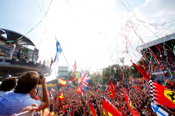 Autodromo Nazionale di Monza, Monza, Italy. Sunday 7 September 2014. Fans gather at the podium to celebrate. World Copyright: Alastair Staley/LAT Photographic. ref: Digital Image _79P6184