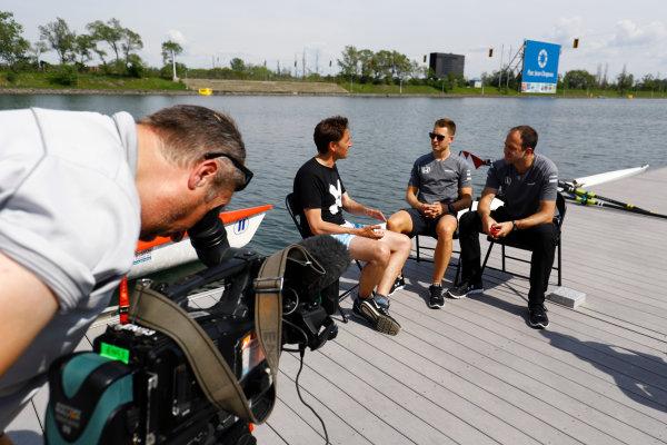 Circuit Gilles Villeneuve, Montreal, Canada. Thursday 8 June 2017. Tom Clarkson interviews Stoffel Vandoorne, McLaren, and performance engineer Tom Stallard, beside the rowing lake. World Copyright: Steven Tee/LAT Images ref: Digital Image _O3I7163