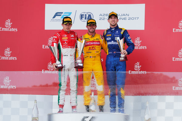 Baku City Circuit, Baku, Azerbaijan. Sunday 25 June 2017 Charles Leclerc (MCO, PREMA Racing) Norman Nato (FRA, Pertamina Arden) and Nicholas Latifi (CAN, DAMS)  Photo: Mauger/FIA Formula 2 ref: Digital Image _56I8722