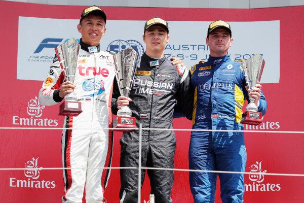 Red Bull Ring, Spielberg, Austria. Sunday 9 July 2017 Artem Markelov (RUS, RUSSIAN TIME). Alexander Albon (THA, ART Grand Prix). Oliver Rowland (GBR, DAMS).  Photo: Mauger/FIA Formula 2 ref: Digital Image _54I0434