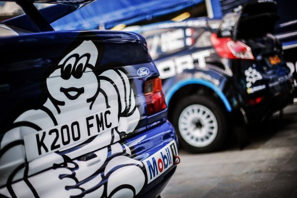 Ford Escort WRC and the car of Mads Ostberg (NOR) / Ola Floene (NOR), M-Sport World Rally Team Ford Fiesta WRC at FIA World Rally Championship, Rd8, Neste Oil Rally Finland, Preparations, Jyvaskyla, Finland, 27 July 2016.