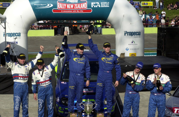 2001 World Rally Championship.Rally of New Zealand. September 20-23, 2001.Auckland, New Zealand.The top three crews celebrate.Photo: Ralph Hardwick/LAT