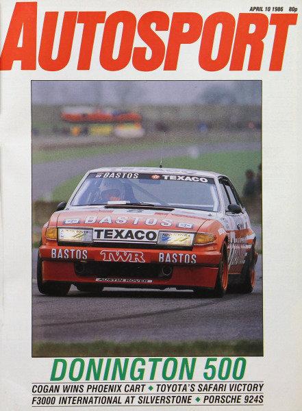 Cover of Autosport magazine, 10th April 1986