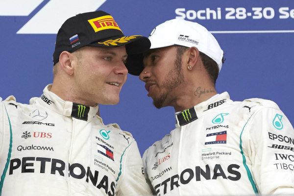 Valtteri Bottas, Mercedes AMG F1, Lewis Hamilton, Mercedes AMG F1, celebrate on the podium