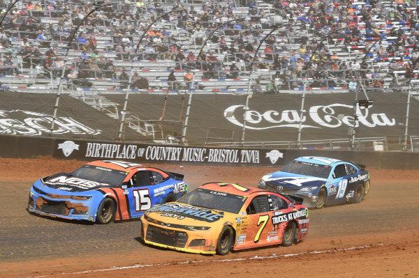 #7: Corey LaJoie, Spire Motorsports, Chevrolet Camaro NASCAR Trucks at Knoxville, #15: Chris Windom, Rick Ware Racing, Chevrolet Camaro NOS Energy Drink, #19: Martin Truex Jr., Joe Gibbs Racing, Toyota Camry Auto-Owners Insurance