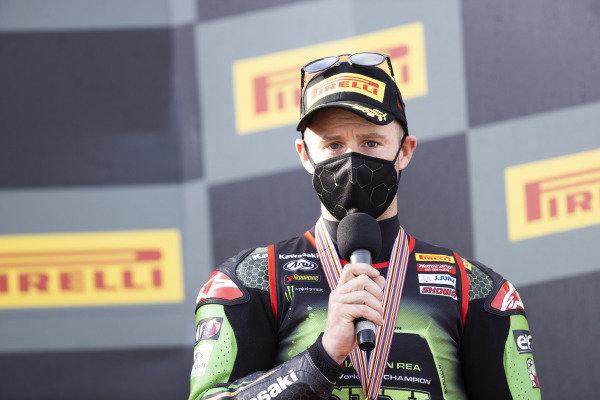 Jonathan Rea, Kawasaki Racing Team with championship medal.