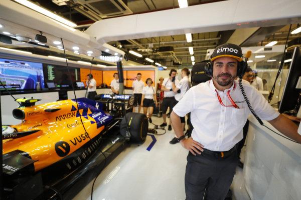Fernando Alonso, in the McLaren garage