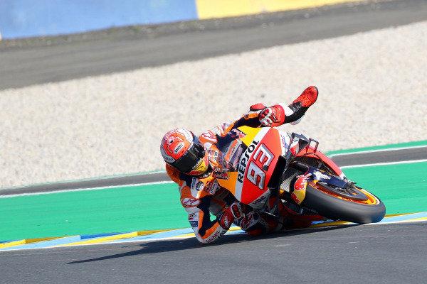 Marc Marquez, Repsol Honda Team saving a crash.