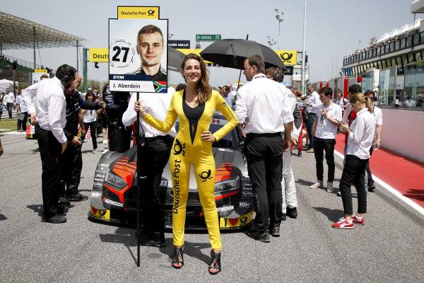Grid girl of Jonathan Aberdein, Audi Sport Team WRT.