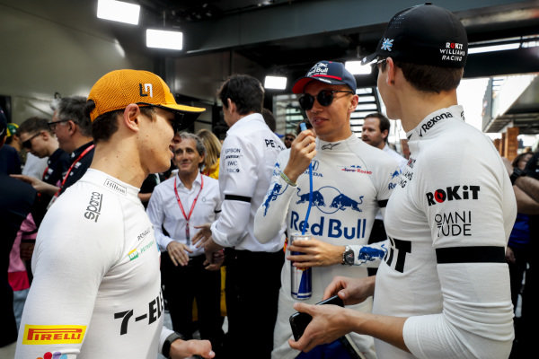 Lando Norris, McLaren, Alexander Albon, Toro Rosso and George Russell, Williams Racing