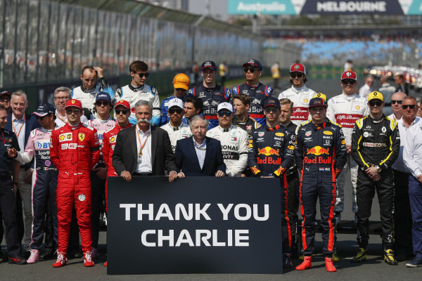 Drivers, team personnel and FIA members gather to pay tribute to the late Charlie Whiting, Race Director, FIA