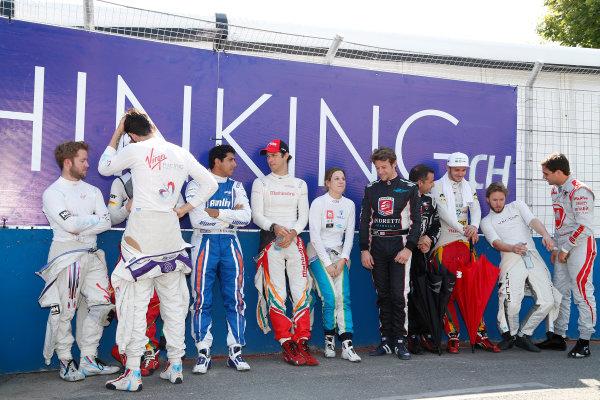 Buenos Aires e-Prix Race. Sam Bird (GBR)/Virgin Racing - Spark-Renault SRT_01E Jaime Alguersuari (SPA)/Virging Racing - Spark-Renault SRT_01E Daniel Abt (GER)/Audi Abt Sport - Spark-Renault SRT_01E Bruno Senna (BRA)/Mahindra Racing - Renault Spark ST_01 Michela Cerruti (ITA)/Trulli Racing - Spark-Renault SRT_01E Marco Andretti (USA)/Andretti Autosport - Spark-Renault SRT_01E Oriol Servia (SPA)/Dragon Racing - Spark-Renault SRT_01E Daniel Abt (GER)/Audi Abt Sport - Spark-Renault SRT_01E Nick Heidfeld (GER)/Venturi Racing - Spark-Renault SRT_01E Jerome D'Ambrosio (BEL)/Dragon Racing - Spark-Renault SRT_01E  FIA Formula E World Championship. Buenos Aires, Argentina, South America. Saturday 10 January 2015.  Copyright: Adam Warner / LAT / FE ref: Digital Image _L5R6978