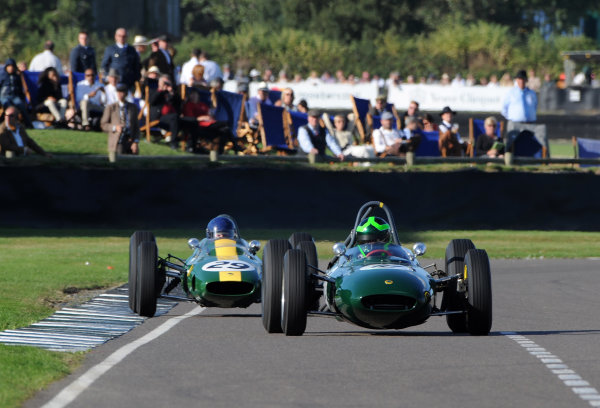 2016 Goodwood Revival Goodwood Estate, West Sussex,England 9th - 11th September 2016 Glover Trophy  Martin Stretton, Lotus-BRM 24, leads Nick Fennell, Lotus-Climax 25. World Copyright : Jeff Bloxham/LAT Photographic Ref : Digital Image