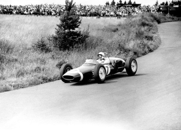 1961 German Grand Prix.Nurburgring, Germany. 6 August 1961.Stirling Moss (Lotus 18/21-Climax), 1st position.Ref-C63143.World Copyright: LAT Photographic.