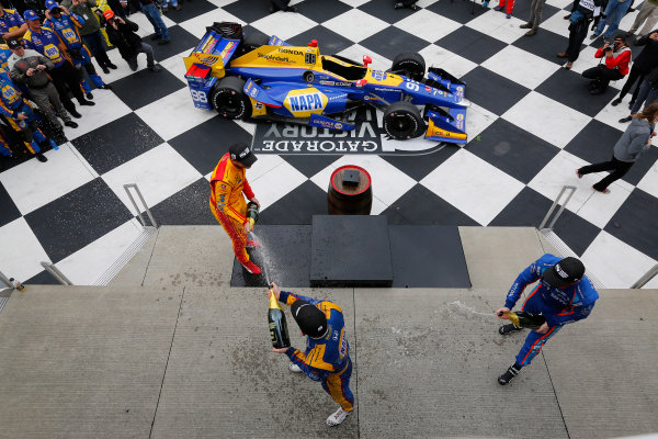 Verizon IndyCar Series IndyCar Grand Prix at the Glen Watkins Glen International, Watkins Glen, NY USA Sunday 3 September 2017 Alexander Rossi, Curb Andretti Herta Autosport with Curb-Agajanian Honda, Ryan Hunter-Reay, Andretti Autosport Honda, Scott Dixon, Chip Ganassi Racing Teams Honda celebrate with champagne on the podium World Copyright: Phillip Abbott LAT Images ref: Digital Image abbott_wglen_0817_10710