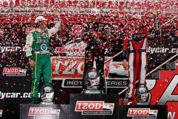 16-18 July, 2010, Toronto, Ontario CAWill Power, Dario Franchitti and Ryan Hunter-Reay celebrate finishing first, second and third, respectively©2010, Dan Streck, USALAT Photographic