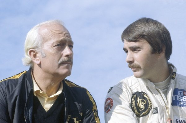 1981 Canadian Grand Prix.Montreal, Canada. 25-27 September 1981.Colin Chapman and Nigel Mansell (Lotus 87-Ford Cosworth). Portrait.World Copyright: LAT PhotographicRef: 35mm transparency 81CAN14