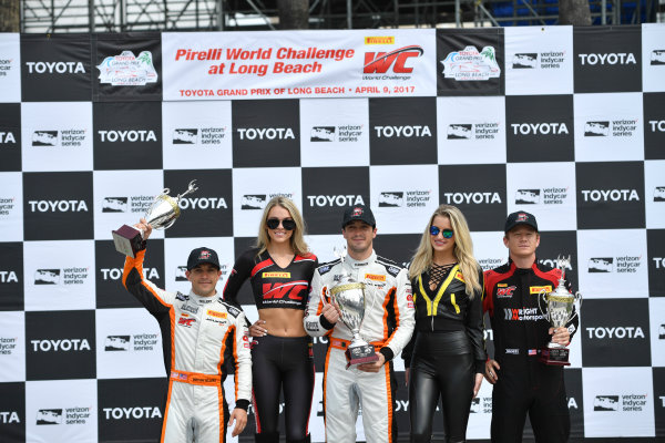2017 Pirelli World Challenge Toyota Grand Prix of Long Beach Streets of Long Beach, CA USA Sunday 9 April 2017 Alvaro Parente, Bryan Sellers, Patrick Long World Copyright: Richard Dole/LAT Images ref: Digital Image RD_LB17_489