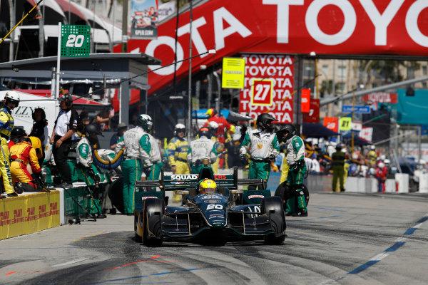 2017 Verizon IndyCar Series Toyota Grand Prix of Long Beach Streets of Long Beach, CA USA Sunday 9 April 2017 Spencer Pigot, pit stop World Copyright: Michael L. Levitt LAT Images
