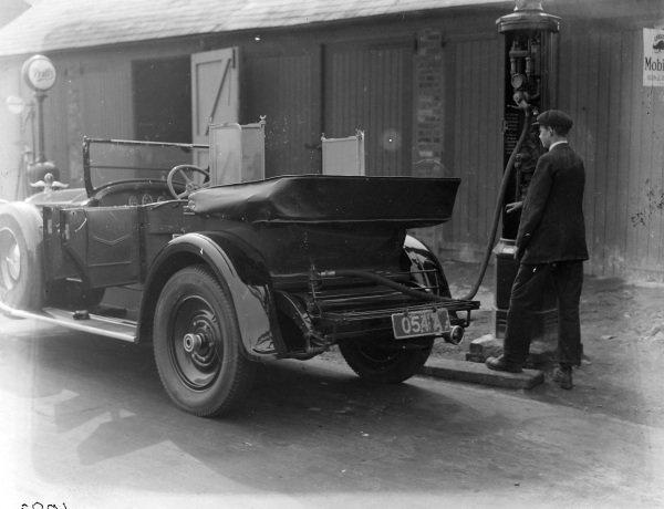 Panhard at petrol pump.