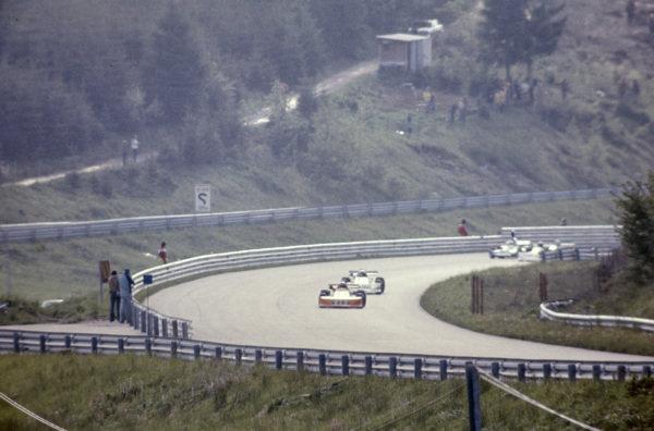 Hans-Joachim Stuck, March 762 BMW/Rosche, leads Maurizio Flammini, March 762 BMW/Rosche.